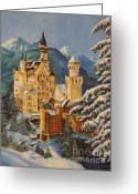 Lion Painting Greeting Cards - Neuschwanstein Castle in Winter Greeting Card by Charlotte Blanchard