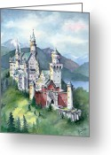 King Ludwig Greeting Cards - Neuschwanstein Greeting Card by Jean White