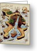 Row Boat Greeting Cards - Never Never Land Greeting Card by Russell Pierce
