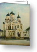 Architectur Greeting Cards - Nevsky Catedral Greeting Card by Ahto Laadoga