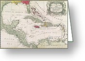 Old Map Drawings Greeting Cards - New and accurate map of the West Indies Greeting Card by American School