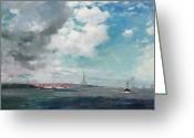 New Britain Painting Greeting Cards - New Brighton from the Mersey Greeting Card by JH Hay