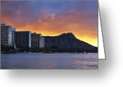Diamond Head Greeting Cards - New Day In Paradise Greeting Card by Richard Keith