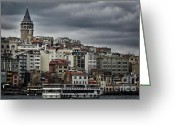 New District Istanbul Greeting Cards - New District Skyline Greeting Card by Joan Carroll