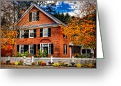 Autumn Scenes Greeting Cards - New England Brickhouse Greeting Card by Thomas Schoeller