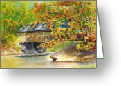Covered Bridge Painting Greeting Cards - New England  Covered Bridge Greeting Card by Karen Fleschler