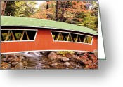 Tree-covered Greeting Cards - New England Covered Bridge Greeting Card by Tony Craddock