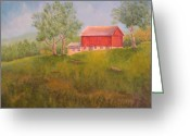 Red Autumn Trees Greeting Cards - New England Red Barn At Sunrise Greeting Card by Pamela Allegretto