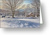 Connecticut Winter Scene Greeting Cards - New England Winter Greeting Card by Bill  Wakeley