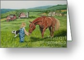 Quarter Horse Greeting Cards - New Friends Greeting Card by Charlotte Blanchard