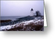 Lighthouse Artwork Greeting Cards - New Haven Harbor Lighthouse Greeting Card by Skip Willits