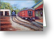 Surface Pastels Greeting Cards - New Hope Train Stop Greeting Card by Joyce A Guariglia