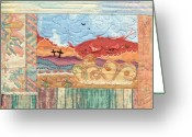 Mexico Tapestries - Textiles Greeting Cards - New Mexican Lanscape Greeting Card by MtnWoman Silver
