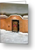 Wall Pastels Greeting Cards - New Mexico Christmas Greeting Card by John De Young