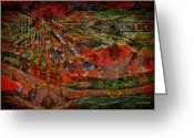 Lacy Abstract Greeting Cards - New Mexico Dreams Greeting Card by Anne Lacy