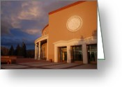 Sunset Scenes. Digital Art Greeting Cards - New Mexico State Capital Building Greeting Card by Rob Hans