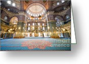 Sultan Greeting Cards - New Mosque Interior in Istanbul Greeting Card by Artur Bogacki