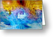 Music Inspired Art Greeting Cards - New New World Greeting Card by Linda Sannuti