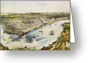 Lithograph Greeting Cards - New Orleans, 1851 Greeting Card by Granger