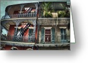 Wrought Iron Stairs Greeting Cards - New Orleans Balconies No. 4 Greeting Card by Tammy Wetzel