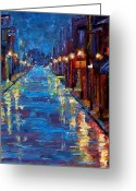 Night Greeting Cards - New Orleans Bourbon Street Greeting Card by Debra Hurd