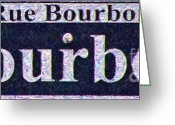 Welcome Signs Greeting Cards - New Orleans Bourbon Street Sign Greeting Card by Wingsdomain Art and Photography