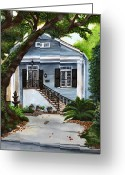 Wrought Iron Stairs Greeting Cards - New Orleans Home Greeting Card by Elaine Hodges