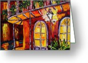 Original Greeting Cards - New Orleans Original Oil Painting French Quarter Glow Greeting Card by Beata Sasik