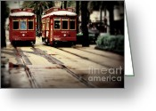 Trolley Greeting Cards - New Orleans Red Streetcars Greeting Card by Perry Webster