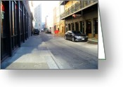 Orleans Pyrography Greeting Cards - New Orleans Street Greeting Card by Whitney F