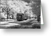 Telephone Pole Greeting Cards - New Orleans: Streetcar Greeting Card by Granger