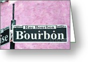 Welcome Signs Greeting Cards - New Orleans Use Bourbon Street Greeting Card by Wingsdomain Art and Photography