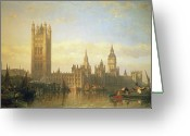 Central Painting Greeting Cards - New Palace of Westminster from the River Thames Greeting Card by David Roberts