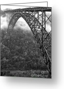 Appalachian. Greeting Cards - New River Gorge Bridge Black and White Greeting Card by Thomas R Fletcher