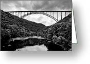 West Virginia Greeting Cards - New River Gorge Bridge in West Virginia black and white Greeting Card by Brendan Reals