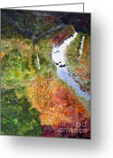 Pine Trees Painting Greeting Cards - New River Gorge in September Greeting Card by Sandy McIntire
