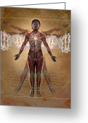 Dna Greeting Cards - New Vitruvian Woman Greeting Card by Jim Dowdalls and Photo Researchers