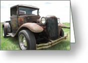 Old Car Pyrography Greeting Cards - New Wheels Greeting Card by Eric Dee
