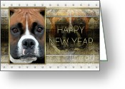Boxer Greeting Cards - New Year - Golden Elegance Boxer Greeting Card by Renae Frankz