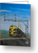Trains Painting Greeting Cards - New York-98 Greeting Card by Christopher Jenkins