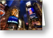 Nasdaq Greeting Cards - New York at Night Greeting Card by Bradley Litz