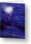 Woodlands Mixed Media Greeting Cards - New York Autumn Night Forest Greeting Card by Steve Ohlsen
