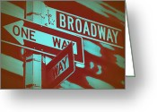 Street Greeting Cards - New York Broadway Sign Greeting Card by Irina  March