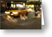 Chic Greeting Cards - New York Cab Greeting Card by Oliver Johnston