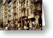 Bicycle Greeting Cards - New York City - Back in Time Greeting Card by Vivienne Gucwa