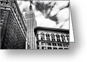 Sky Greeting Cards - New York City - Empire State Building and Clouds Greeting Card by Vivienne Gucwa