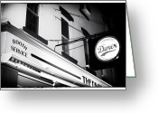Dinner Greeting Cards - New York City At Night Diner Noir Greeting Card by John Rizzuto