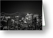 Hudson River Greeting Cards - New York City At Night Greeting Card by Image - Natasha Maiolo