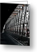 Urbano Greeting Cards - New York City Bridge Industrial Greeting Card by Anahi DeCanio