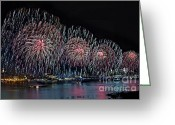 4th Greeting Cards - New York City Celebrates the 4th Greeting Card by Susan Candelario
